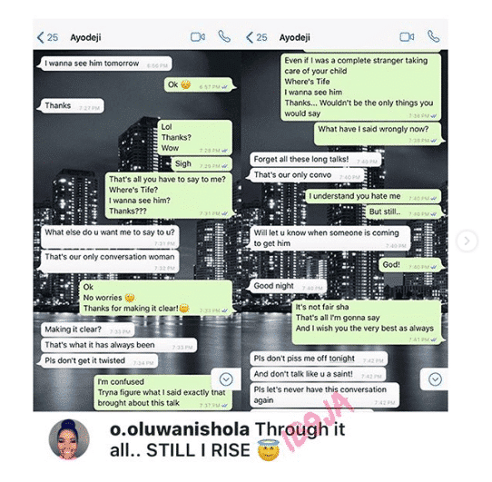 Chat between Wizkid and his first baby mama, Shola Ogudu